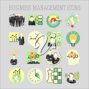 Vector set of a business and management icons. Business strategy management and human resources.