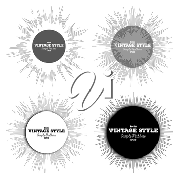 Set of vintage style star burst, retro elements for your design, vector banners with place for text.