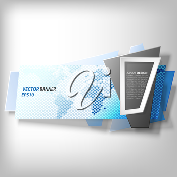 Blue Infographic banner, modern abstract banner design for infographics, business design and website template, origami styled vector illustration.