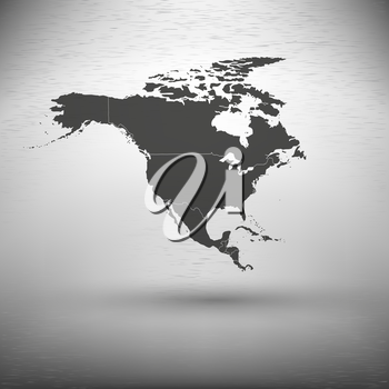North america map with the shadow on gray background vector