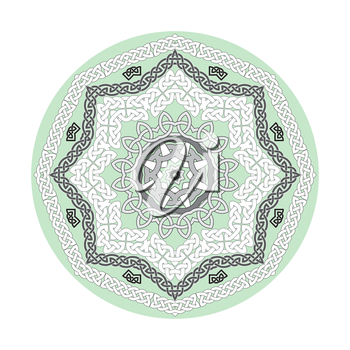 Round ornamental vector shape, celtic patterns, frames isolated on white.