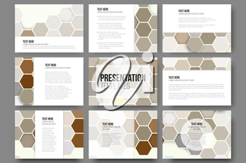 Set of 9 templates for presentation slides. Colorful geometric backgrounds, abstract hexagonal vector patterns.