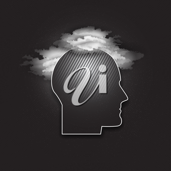 Vector icon of human head. Concept of human thinking. Dark design vector illustration.