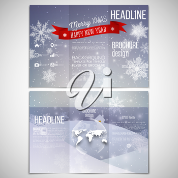 Vector set of tri-fold brochure design template on both sides with world globe element. Merry Christmas and happy New Year vector background.