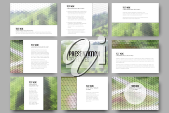 Set of 9 templates for presentation slides. Nature landscape. Abstract multicolored backgrounds. Natural geometrical patterns. Triangular and hexagonal style vector illustration.