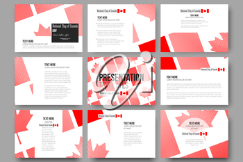 Set of 9 vector templates for presentation slides. National Flag of Canada Day. Abstract dotted vector background