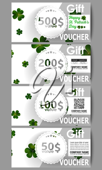 Set of modern gift voucher templates. St Patricks day vector background, green clovers on white.