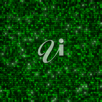 Virtual reality, abstract technology background with green symbols, vector illustration.