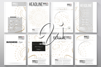 Set of business templates for brochure, flyer or booklet. Polygonal low poly backdrop with connecting dots and lines, golden connection structure on white background. Digital or science vector