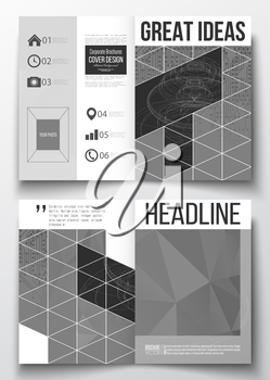 Set of business templates for brochure, magazine, flyer, booklet or annual report. Microchip background, electrical circuits, construction with connected lines, scientific or digital design template