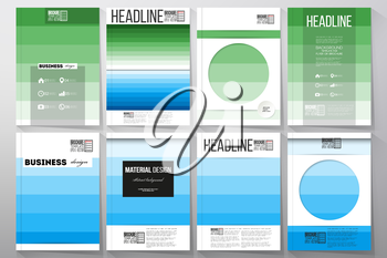 Set of business templates for brochure, flyer or booklet. Abstract colorful business background, blue and green colors, modern stylish striped vector texture for your cover design.