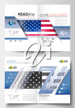 Business templates for brochure, magazine, flyer, booklet or annual report. Cover design template, easy editable blank, abstract flat layout in A4 size. Patriot Day background with american flag, vect