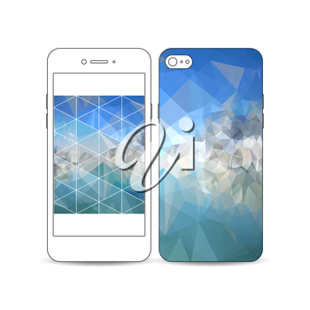 Mobile smartphone with an example of the screen and cover design isolated on white background. Abstract blue polygonal background, colorful backdrop, modern stylish vector texture.
