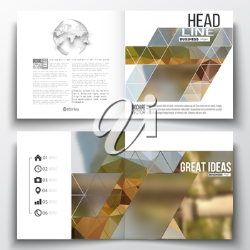 Set of annual report business templates for brochure, magazine, flyer or booklet. Colorful polygonal backdrop, blurred background, modern stylish triangle vector texture.