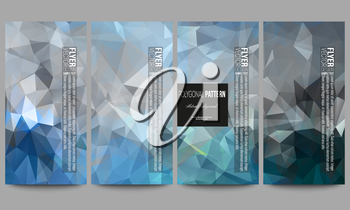 Set of modern vector flyers. Abstract blue polygonal background, colorful backdrop, modern stylish vector texture.