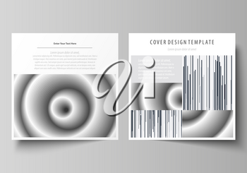 Business templates for square design brochure, magazine, flyer, booklet or annual report. Leaflet cover, abstract flat layout, easy editable vector. Simple monochrome geometric pattern. Minimalistic b
