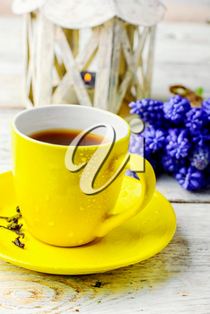 Yellow cup of tea on saucer and bunch of hyacinths