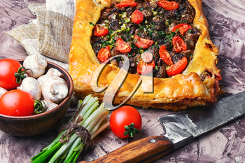 Delicious meat pie stuffed with mushrooms and tomato