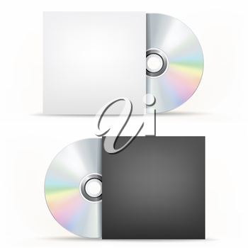 The CD-DVD disc and paper case on the white background