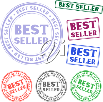 The different bestseller colored stamp isolated on white background
