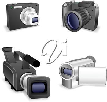 The collection of cameras isolated on a white background