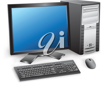 The modern desktop black computer with monitor, keyboard and mouse on the white background