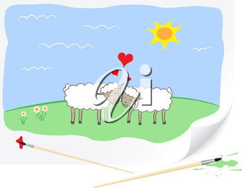 Two enamoured sheep are drawn on a paper by a brush