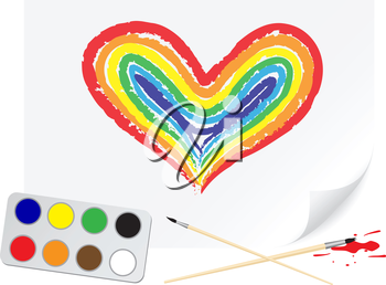 Children drawing of a rainbow heart a brush paints on a paper