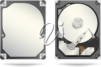 The opened and closed hard drive isolated on the white background