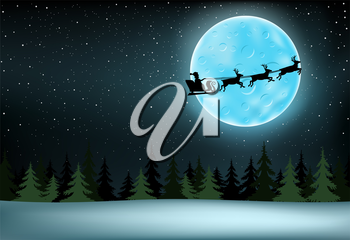 The Santa Claus with reindeer flying over night spruce wood, large moon with craters and stars on background