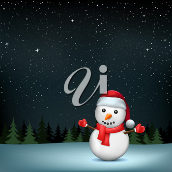 The snowman in Santa hat on night wood and stars background. Christmas holiday celebration