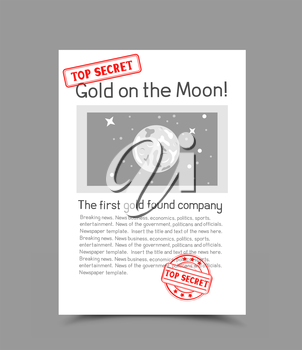 A4 white vertical paper document template with red stamp top secret and shadow bottom on gray background. Photo and message gold on the moon. Confidential information