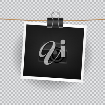 Paper square photo hang on the cord on transparent background. Empty exhibition of template to insert your photography. Camera symbol for default picture show
