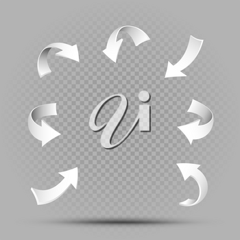 White pointing arrows set and shadow on gray transparent background