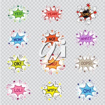 Cartoon message illustration set on transparent background. Comic sound effect graphic. Yes yeah bomb wow no what ok omg oops lol wtf oh letters posted on colorful communication quote bubble