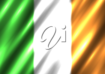 Irish national flag background. Country Ireland standard banner backdrop. Easy to edit wave light shadow