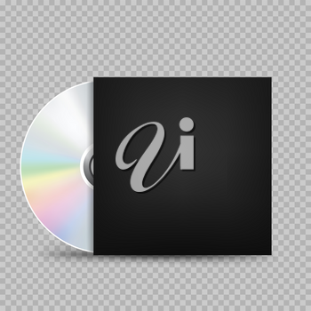The CD-DVD compact disc and black empty paper case template with shadow on transparent background