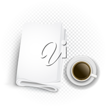 Coffee and newspaper template on transparent background. Read latest news information