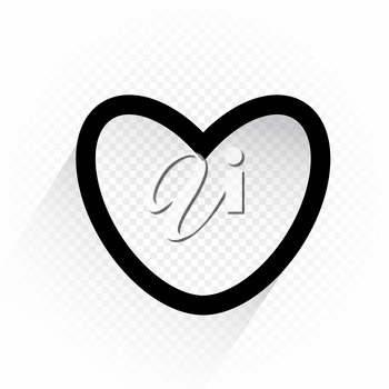 Black color outline heart sign with shadow on white transparent background