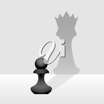 Pawn dreams of becoming high-ranking person illustration. Chess figure with king or queen shadow