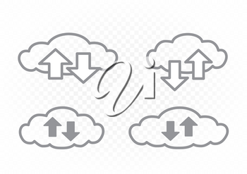 Info exchange through cloud service icon set on white transparent background. Clouds and arrows collection. Wireless network communication