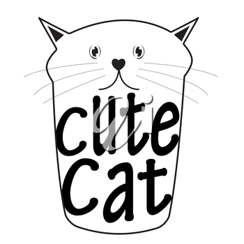 Cute Handdrawn Cat Isolated Vector Illustration EPS10