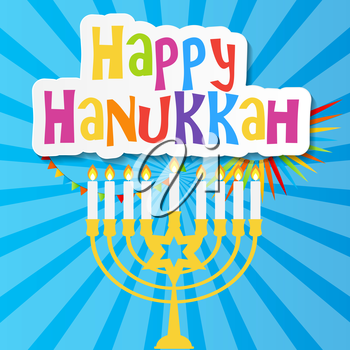 Happy Hanukkah, Jewish Holiday Background. Vector Illustration. Hanukkah is the name of the Jewish holiday. EPS10