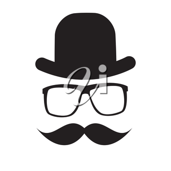 Cute Handdrawn Glasses, Hat and a Mustache Vector Illustration EPS10