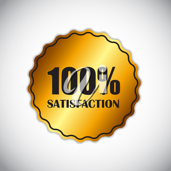 Golden Label Satisfaction Isolated Vector Illustration. EPS10