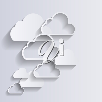 Cloud Computing Concept on Different Electronic Devices. Vector Illustration