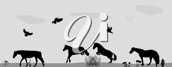 Horses Jumping, Birds Fly in Nature. Vector Illustration. EPS10