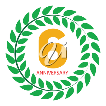 Template Logo 6 Anniversary in Laurel Wreath Vector Illustration EPS10