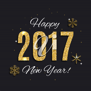 2017 Happy New Year Gold Glossy Background. Vector Illustration EPS10