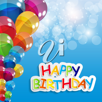 Color Glossy Balloons Happy Birthday Background Vector Illustration EPS10